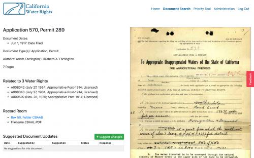Historic water right document