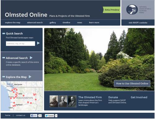Design for Olmsted Online Home Page