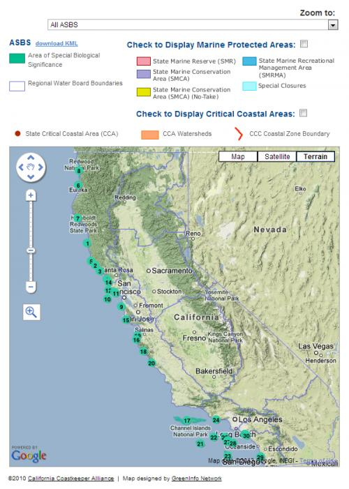 Overview Map for California Coastkeeper