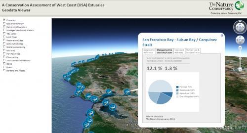 Map Interface for TNC Estuaries Geodata Viewer