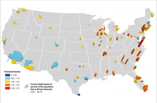 Predicted Density of African American Smokers in the U.S.