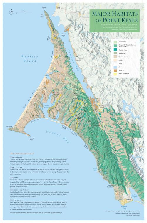 Habitats Map of Pt. Reyes National Seashore