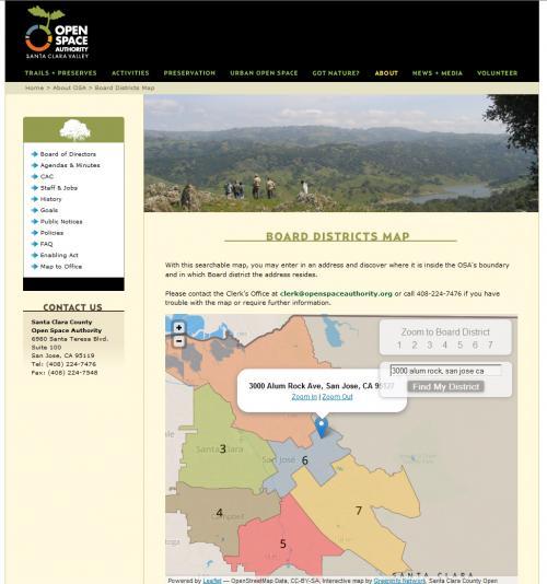 Web Application for Finding a Legislative District