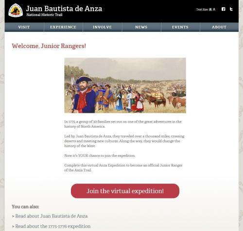 Anza Jr. Ranger Start Page