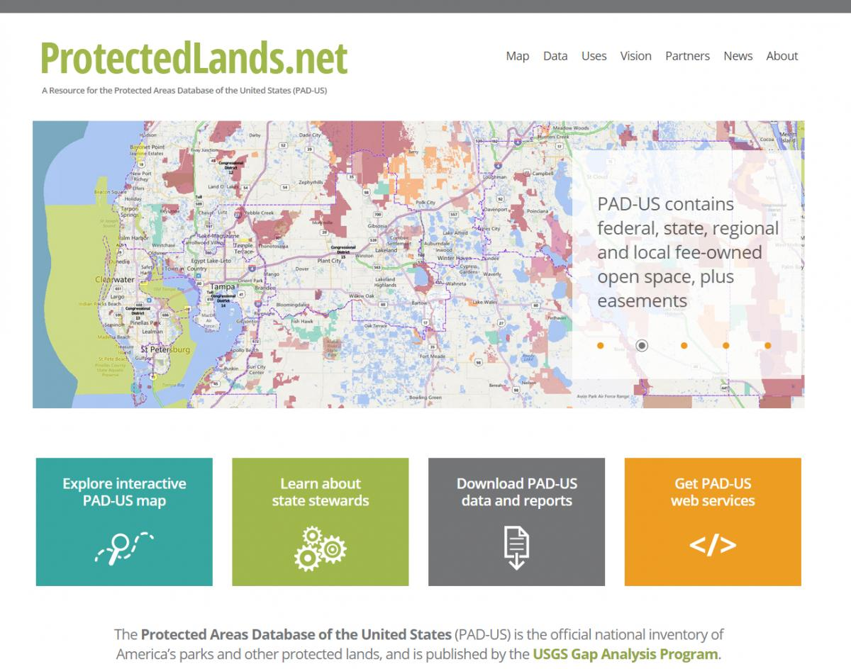 protectedlandsnet web site home page example report on an area pad us interactive map