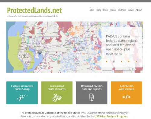ProtectedLands.net Web Site Home Page
