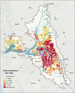 Map of Subsidence in the California Delta