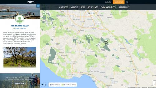 Web map interface for POST site