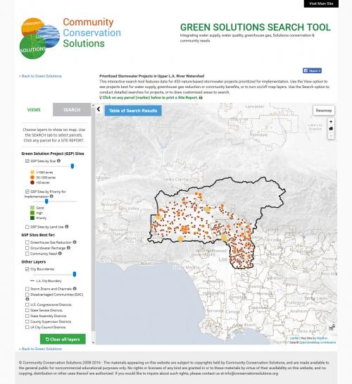 Main Mapper page, with View and Search panel options