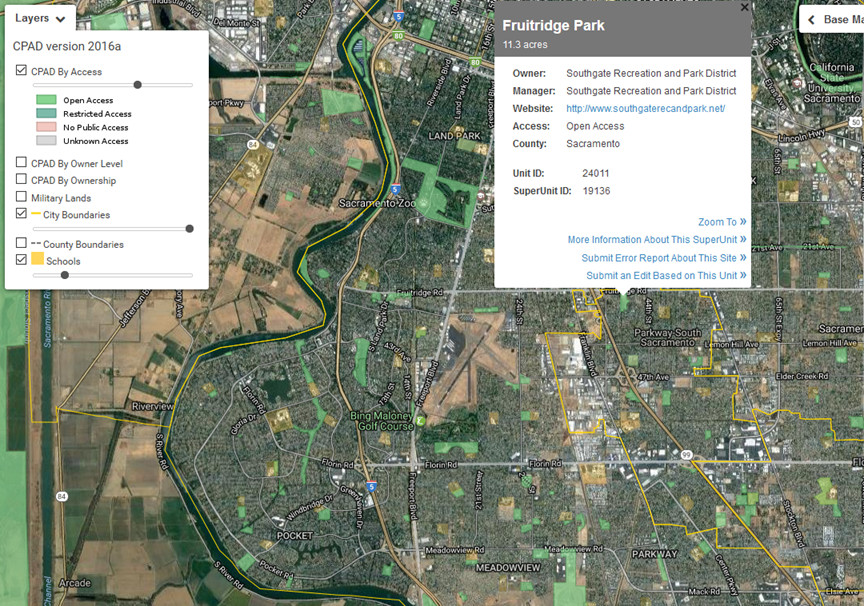 GIS inventories of parks open space and