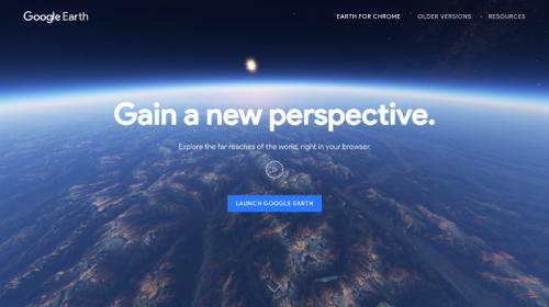 Main screen for new Google Earth