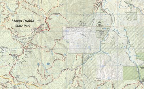Cartographic detail in Save Mt. Diablo trail map
