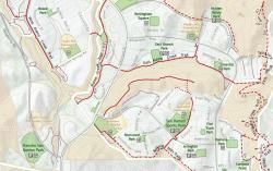 Section of San Ramon Trails map showing cartography