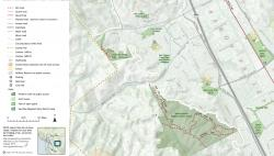Section of San Ramon Trails map showing cartography and legend